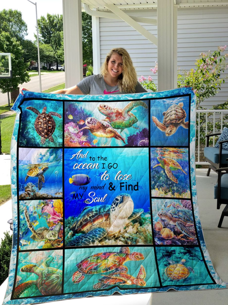 Turtle KP8211 And To The Ocean I Go To Lose My Mind & Find My Soul Quilt Blanket