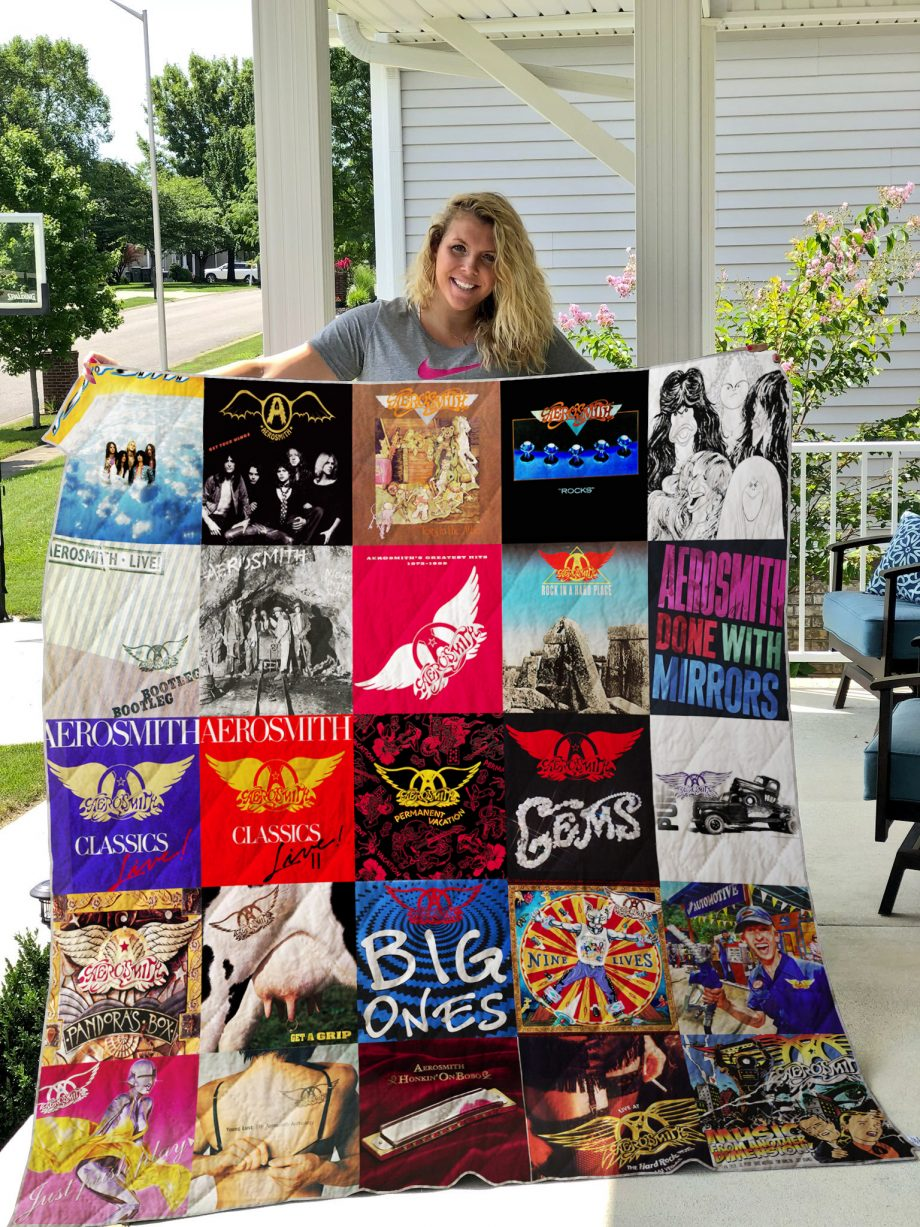 Aerosmith Style 2 Album Covers Quilt Blanket