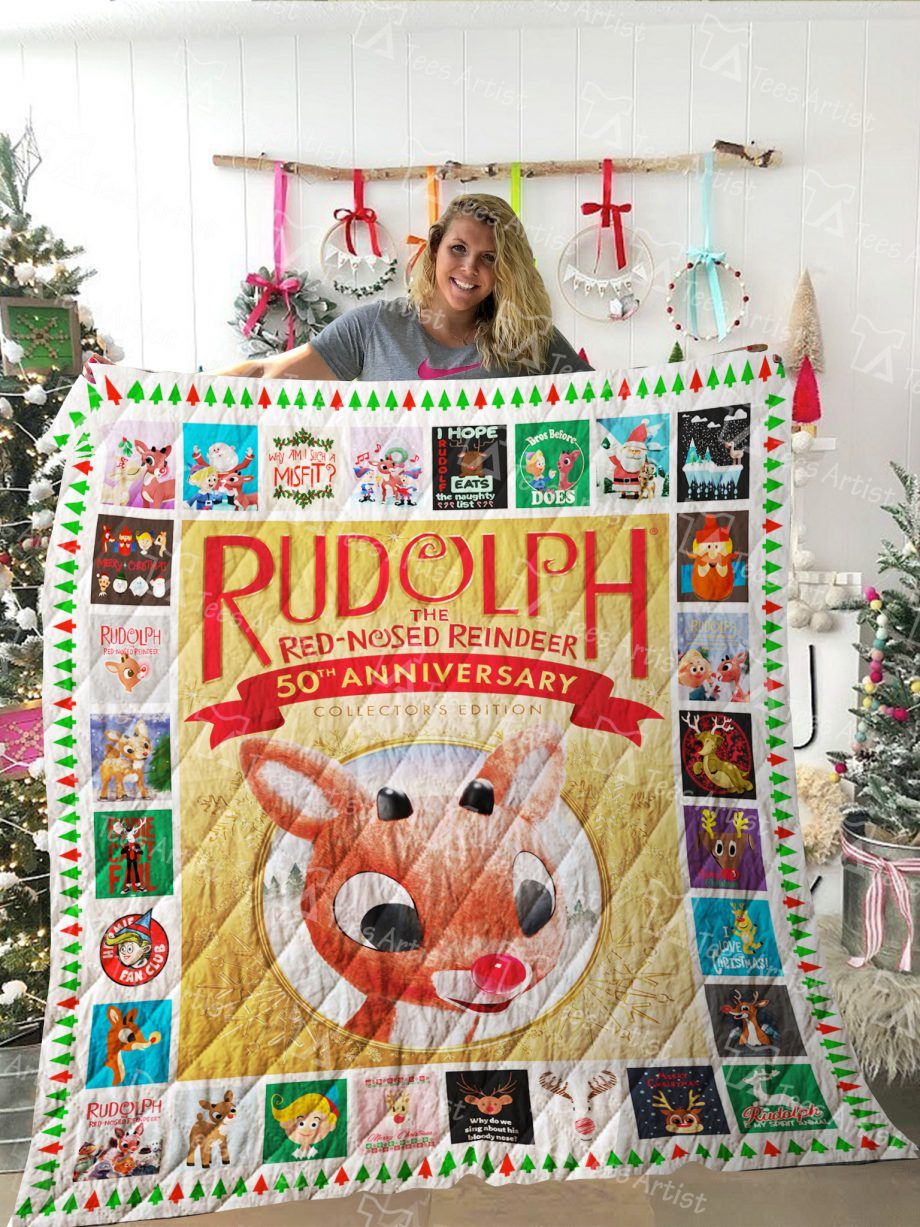 Rudolph the Red-Nosed Reindeer Quilt Blanket 02272