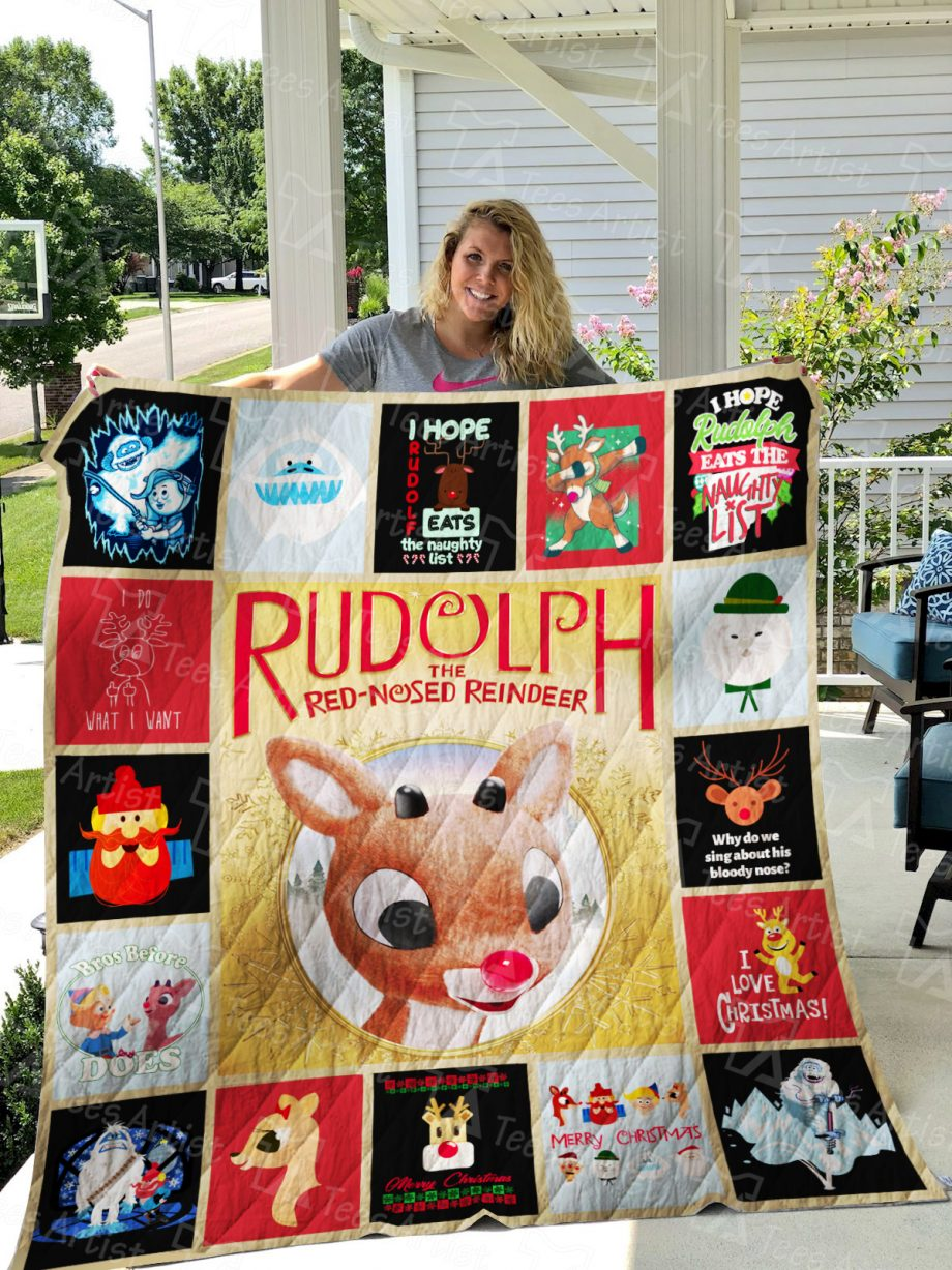 Rudolph The Red-Nosed Reindeer Xmas  Quilt Blanket 01331