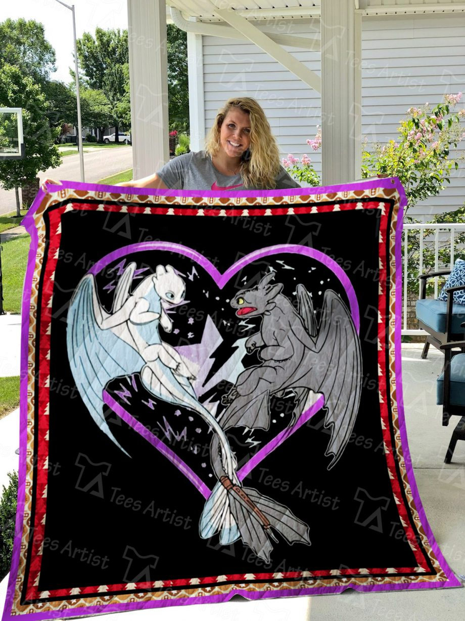 Toothless and Light Fury Dragon Quilt Blanket 01361
