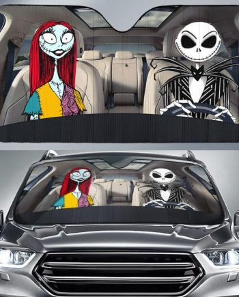 Jack and Sally Nightmare Before Christmas Auto Sun Shade Car Sun Shade